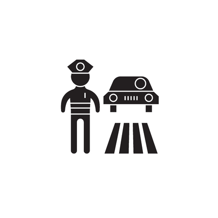 Traffic police black vector concept icon. Traffic police flat illustration, sign, symbol