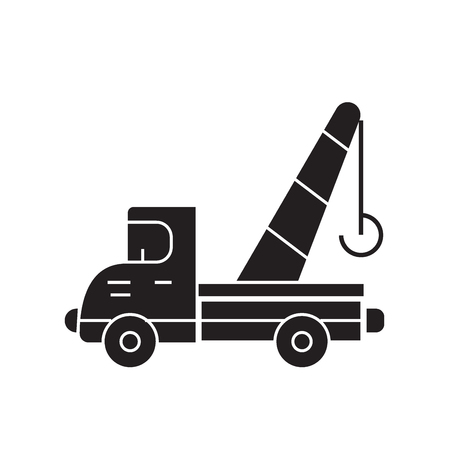 Towing truck black vector concept icon. Towing truck flat illustration, sign, symbol