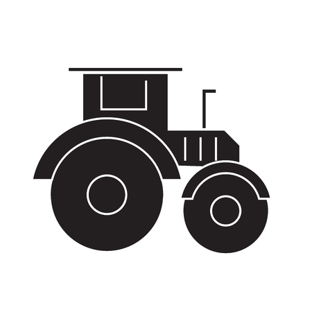 Tractor black vector concept icon. Tractor flat illustration, sign, symbol