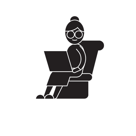 Tired working black vector concept icon. Tired working flat illustration, sign, symbol