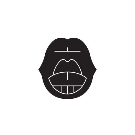 Sore throat black vector concept icon. Sore throat flat illustration, sign, symbol