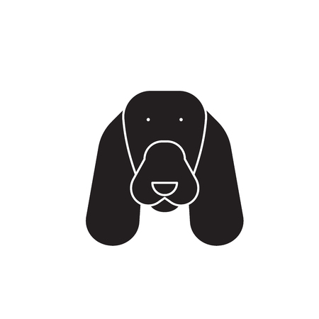 Spaniel black vector concept icon. Spaniel flat illustration, sign, symbol Vettoriali