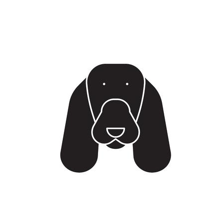 Spaniel black vector concept icon. Spaniel flat illustration, sign, symbol Illustration