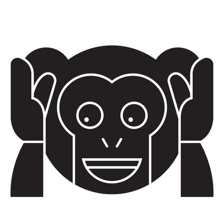 Speak no evil emoji black vector concept icon. Speak no evil emoji flat illustration, sign, symbol