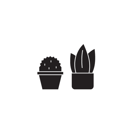Two cactuses black vector concept icon. Two cactuses flat illustration, sign, symbol