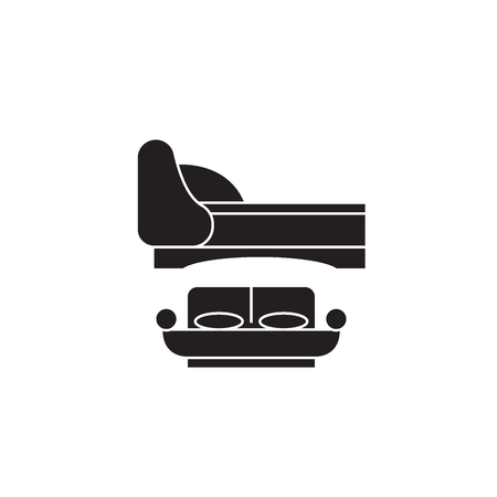 Two double beds black vector concept icon. Two double beds flat illustration, sign, symbol  イラスト・ベクター素材