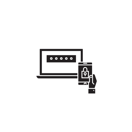Two factor authentication black vector concept icon. Two factor authentication flat illustration, sign, symbol