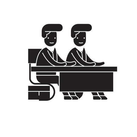 Two students at the desk black vector concept icon. Two students at the desk flat illustration, sign, symbol
