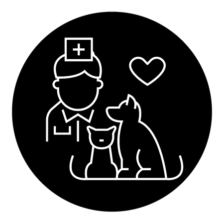 Veterinarian with dog and cat black vector concept icon. Veterinarian with dog and cat flat illustration, sign, symbol
