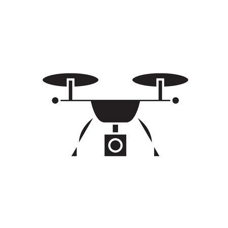 Video quadrocopter black vector concept icon. Video quadrocopter flat illustration, sign, symbol