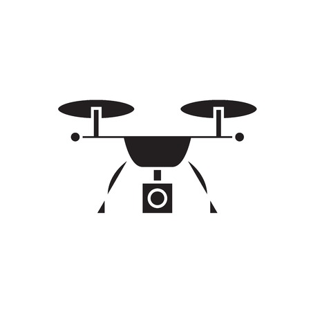 Video quadrocopter black vector concept icon. Video quadrocopter flat illustration, sign, symbol