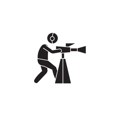 Video shooting black vector concept icon. Video shooting flat illustration, sign, symbol