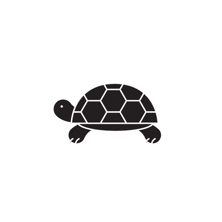 Turtle black vector concept icon. Turtle flat illustration, sign, symbol