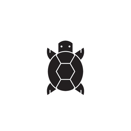 Turtle front view black vector concept icon. Turtle front view flat illustration, sign, symbol