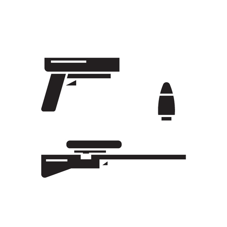Types of weapons black vector concept icon. Types of weapons flat illustration, sign, symbol
