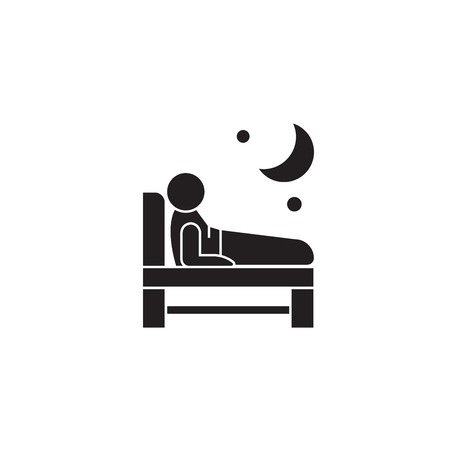 Trouble  sleeping black vector concept icon. Trouble  sleeping flat illustration, sign, symbol