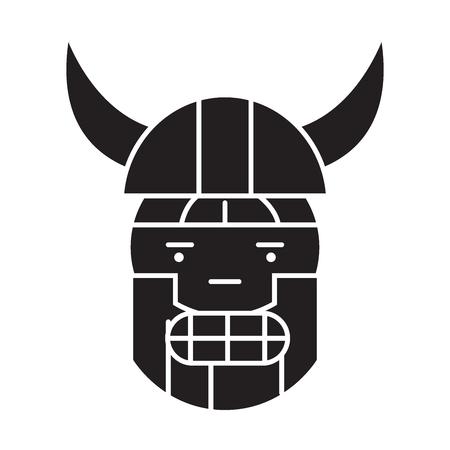 Viking emoji black vector concept icon. Viking emoji flat illustration, sign, symbol Vectores