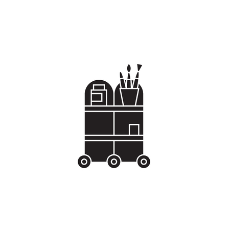 Waiter trolley black vector concept icon. Waiter trolley flat illustration, sign, symbol