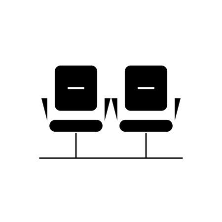 Waiting room black vector concept icon. Waiting room flat illustration, sign, symbol Illustration