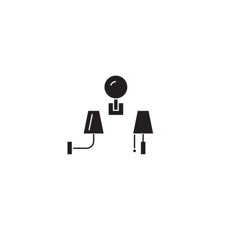 Wall lamps black vector concept icon. Wall lamps flat illustration, sign, symbol