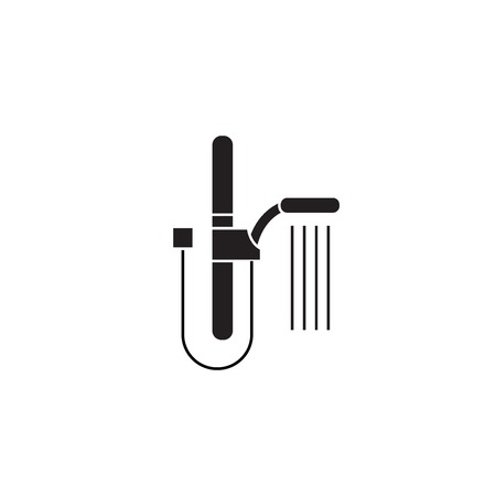 Wall shower black vector concept icon. Wall shower flat illustration, sign, symbol