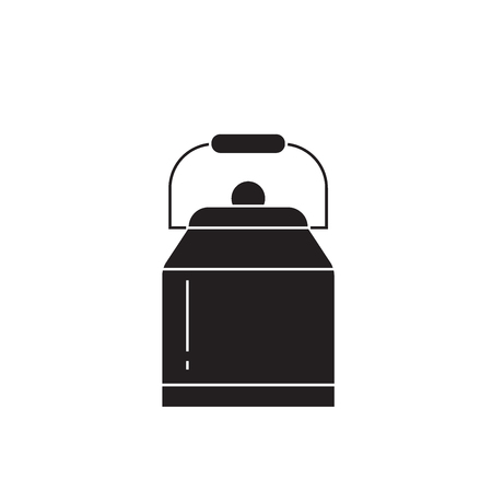 Water can black vector concept icon. Water can flat illustration, sign, symbol