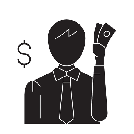 Thinking about money black vector concept icon. Thinking about money flat illustration, sign, symbol Ilustração