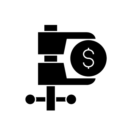 Tax reduction black vector concept icon. Tax reduction flat illustration, sign, symbol