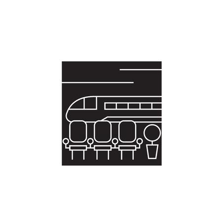 Train station black vector concept icon. Train station flat illustration, sign, symbol Illustration