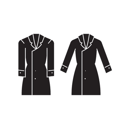 Trench coat black vector concept icon. Trench coat flat illustration, sign, symbol