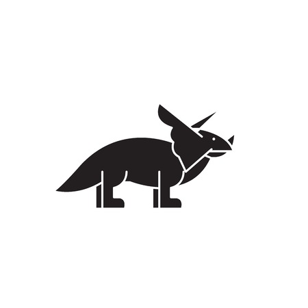 Triceratops black vector concept icon. Triceratops flat illustration, sign, symbol