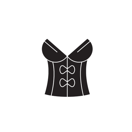 Vintage corset black vector concept icon. Vintage corset flat illustration, sign, symbol Иллюстрация