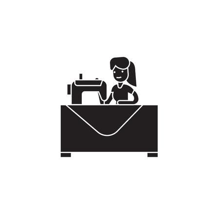 Nähen Frau schwarz Vektor-Konzept-Symbol. Flache Illustration der nähenden Frau, Zeichen, Symbol