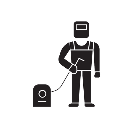 Welder, welding work black vector concept icon. Welder, welding work flat illustration, sign, symbol 일러스트