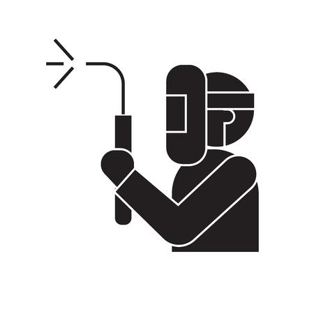 Welding service black vector concept icon. Welding service flat illustration, sign, symbol