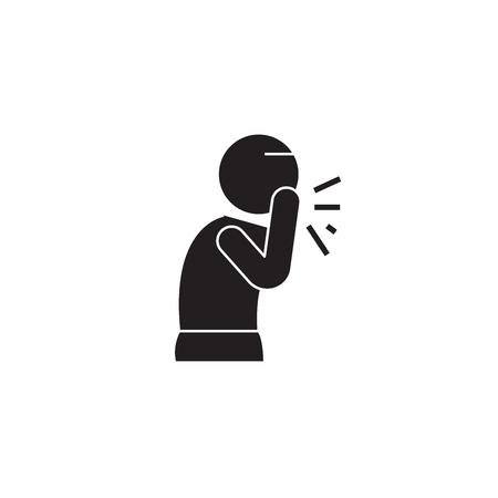 Wet cough black vector concept icon. Wet cough flat illustration, sign, symbol