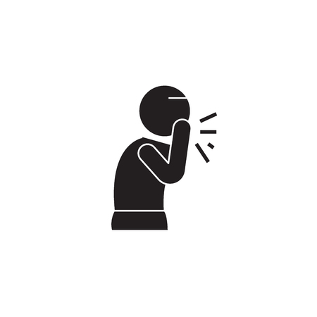 Wet cough black vector concept icon. Wet cough flat illustration, sign, symbol Stockfoto - 126867072