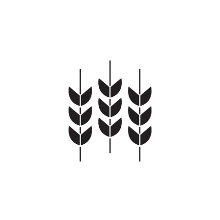 Wheat grains black vector concept icon. Wheat grains flat illustration, sign, symbol