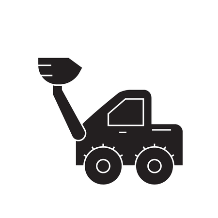 Wheel loader black vector concept icon. Wheel loader flat illustration, sign, symbol Stock Illustratie