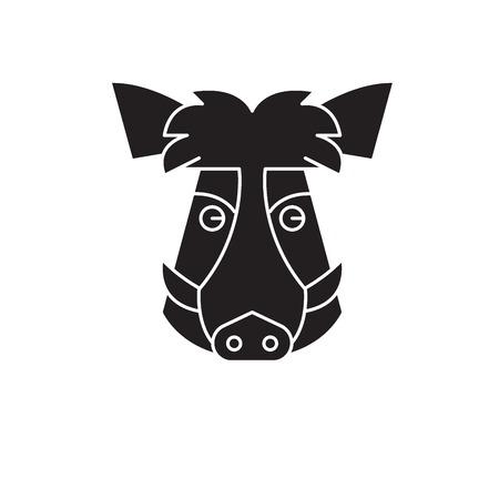 Wild boar head black vector concept icon. Wild boar head flat illustration, sign, symbol