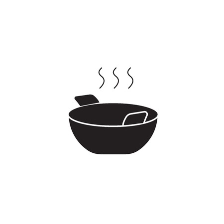 Wok cooking black vector concept icon. Wok cooking flat illustration, sign, symbol
