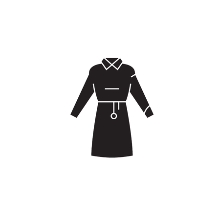 Woman garment black vector concept icon. Woman garment flat illustration, sign, symbol