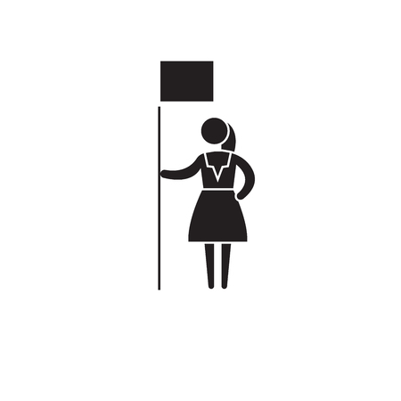 Woman rights black vector concept icon. Woman rights flat illustration, sign, symbol