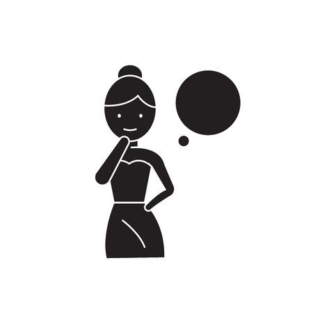 Woman thinking black vector concept icon. Woman thinking flat illustration, sign, symbol Illustration