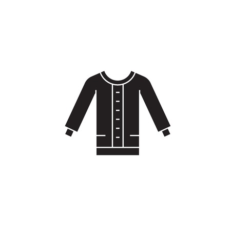 Women sweater black vector concept icon. Women sweater flat illustration, sign, symbol