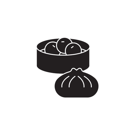 Wonton, dumplings black vector concept icon. Wonton, dumplings flat illustration, sign, symbol Stock Vector - 126867103