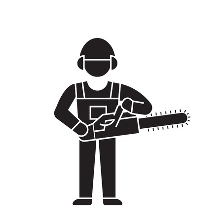 Woodcutter with chainsaw black vector concept icon. Woodcutter with chainsaw flat illustration, sign, symbol 일러스트