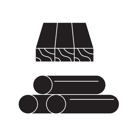 Wooden planks and rolls black vector concept icon. Wooden planks and rolls flat illustration, sign, symbol