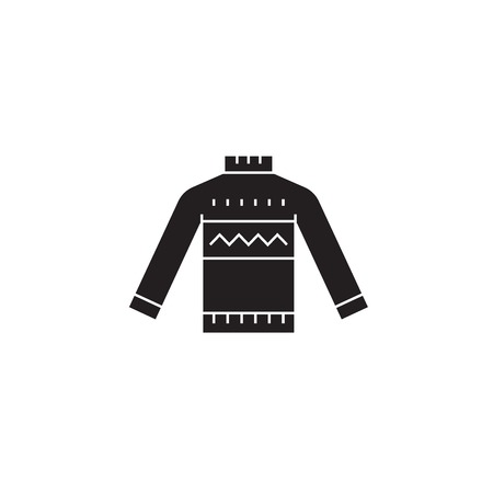 Wool sweater black vector concept icon. Wool sweater flat illustration, sign, symbol