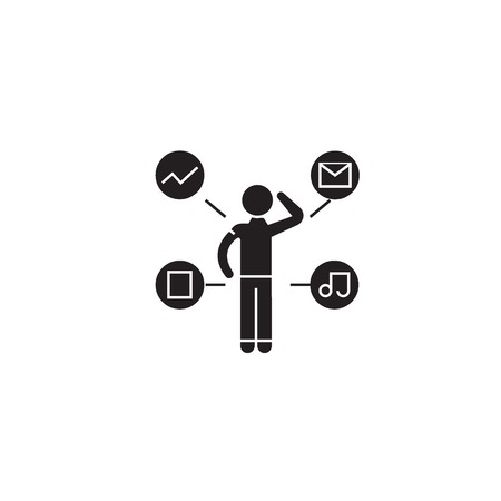 Work thoughts black vector concept icon. Work thoughts flat illustration, sign, symbol Stock Illustratie